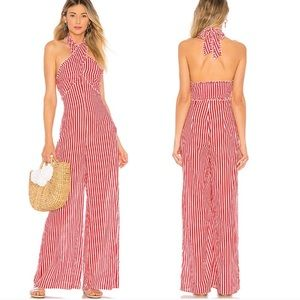 Tularosa Jackie Red Striped Jumpsuit Revolve